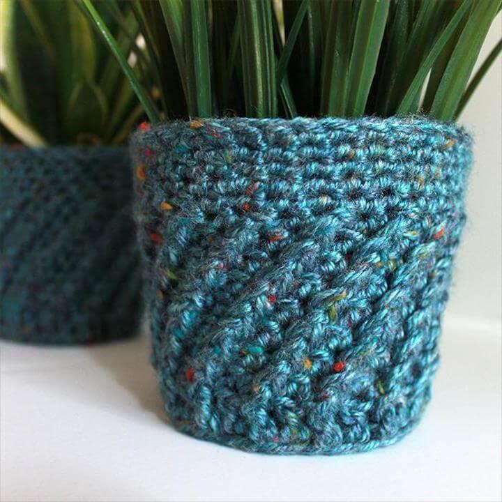 Spiral Crochet Planter Cover FREE Pattern