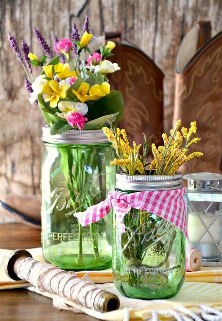 Spring Mason Jar Centerpiece