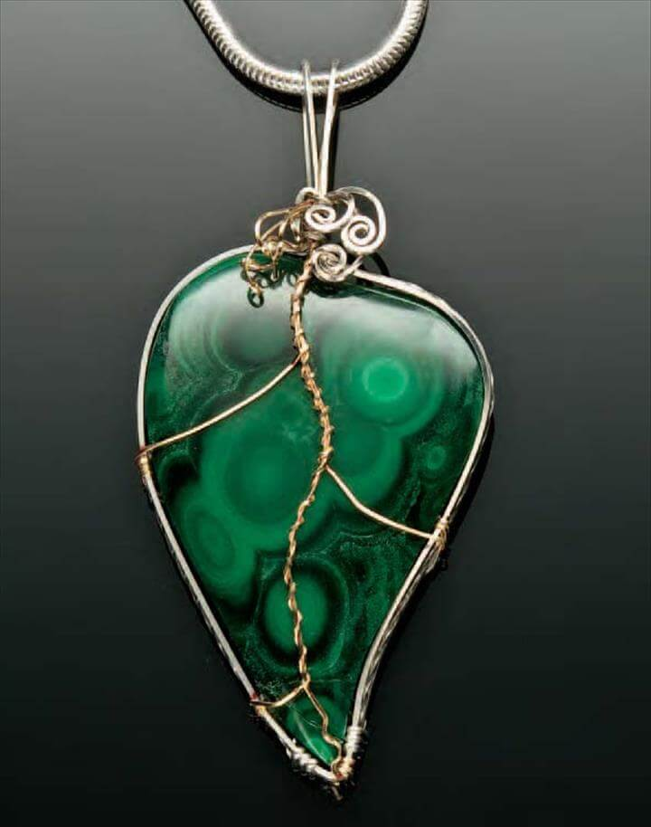 Stone leaf and wire pendant