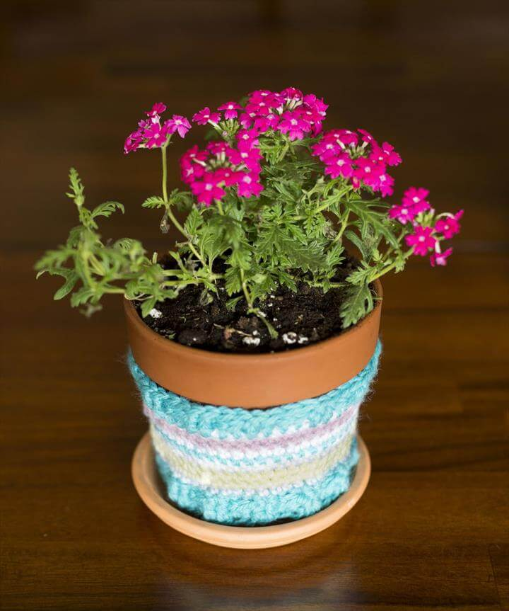 Image result for crochet flower pot Striped Flower Pot Cozy Crochet