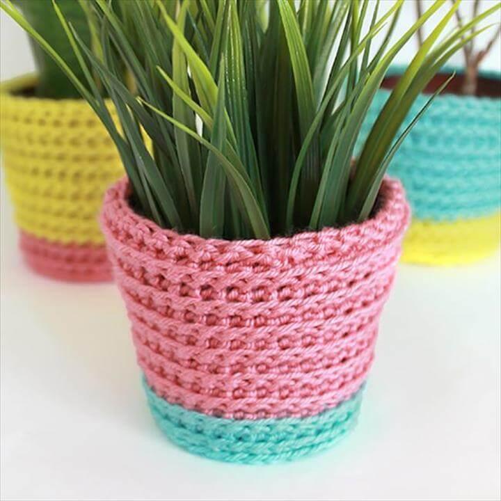Summer Sherbet Crochet Planter