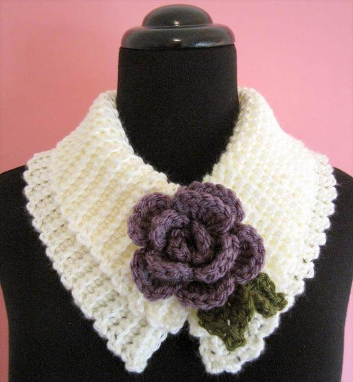 Sweet and Simple Scarflette with Rolled Rose: A Free Crochet Pattern For You