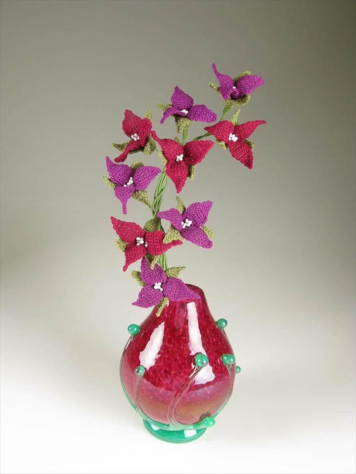 Trillium Crochet Fiber Art Flower Bouquet