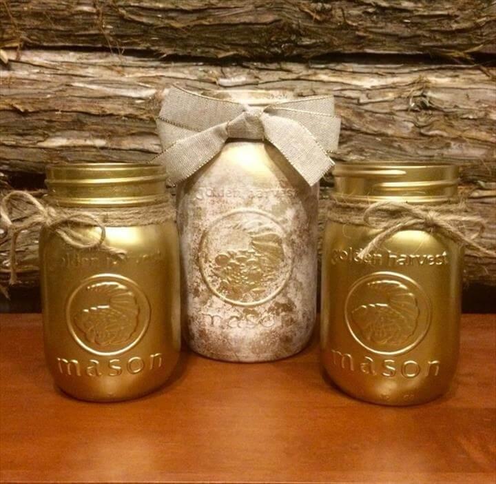 Vintage Gold Mason Jar Gold Wedding Mason Jar Rustic Mason Jar Centerpiece