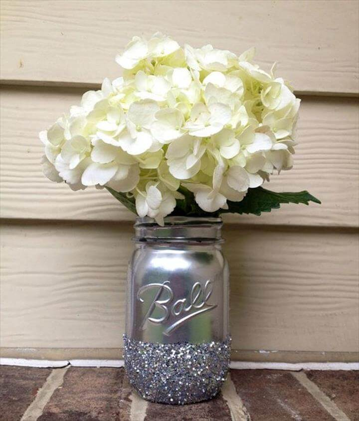 Shining Shimmering Silver Painted Distressed Mason Jars Vase Vintage Centerpiece Wedding Decor Ball Kerr Rustic Wedding Glitter Sparkling