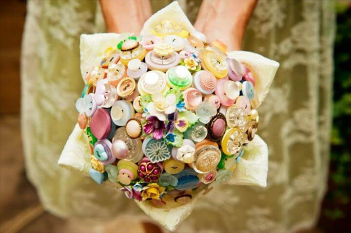 wedding wedding bouquet of diy idea wedding dress buttons
