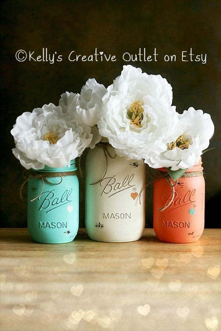 Cream, Coral and Teal - Painted Mason Jar - Distressed Mason Jars - Vase - Home Decor - Wedding Centerpiece - Baby Shower - Mason Jar Decor