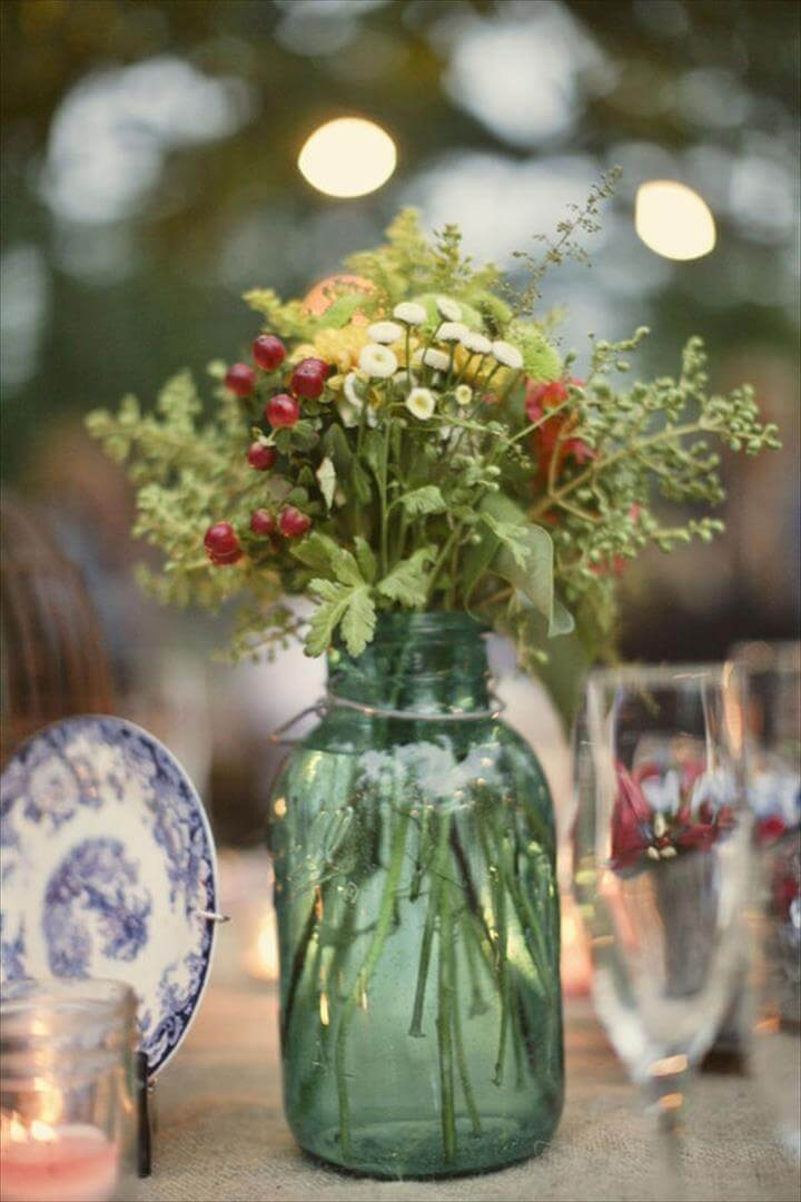 Wildflower Mason Jar Centerpiece
