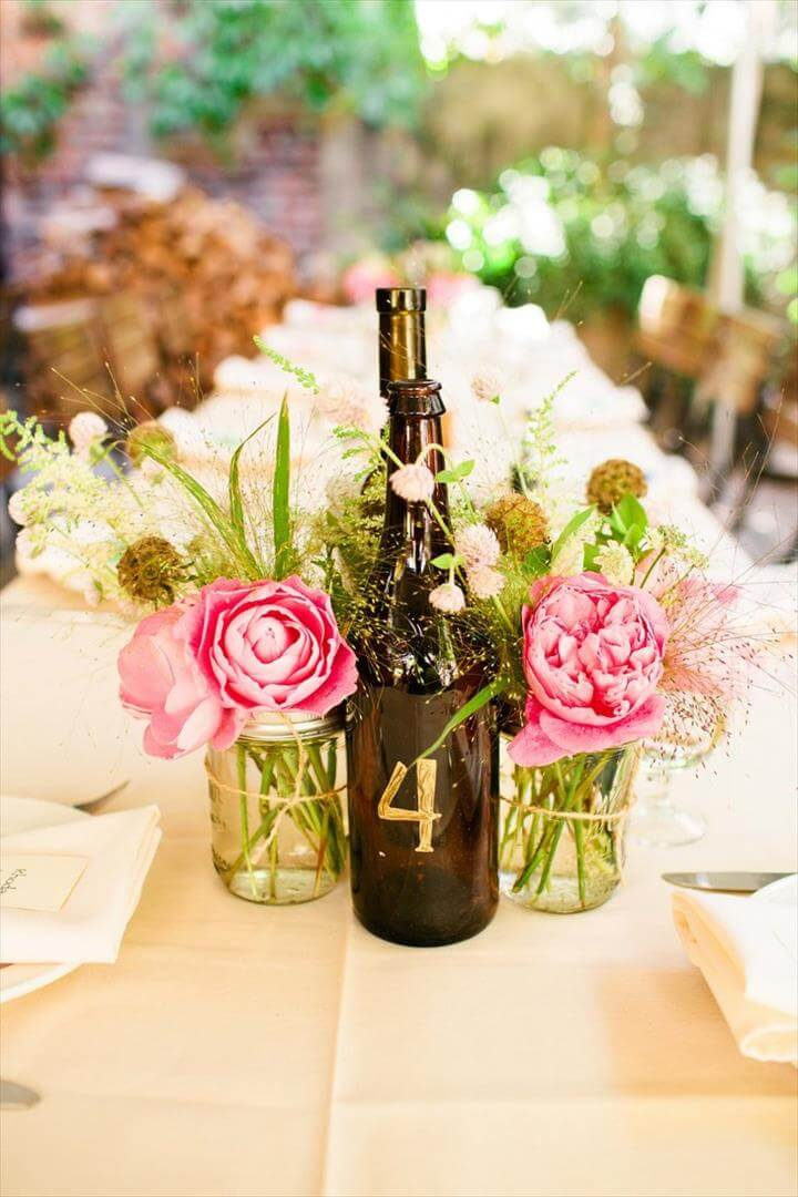 Wine Bottle and Mason Jar Centerpieces