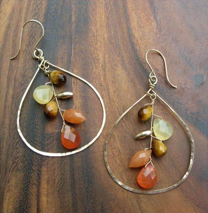 Earrings,Copper, Flat sheets and Teardrop necklace