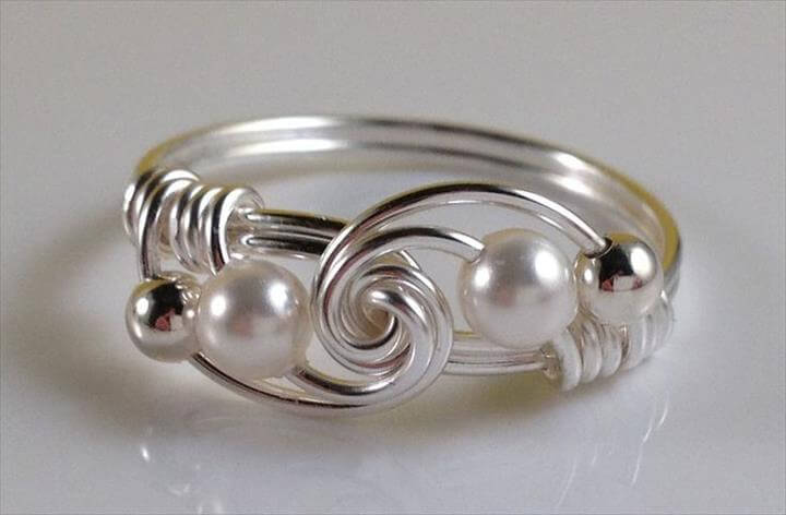 Wire Wrapped Ring Pearl Ring Wire Wrap Ring Simple Rings Swarovski Pearl Knot Ring Jewelry Gifts