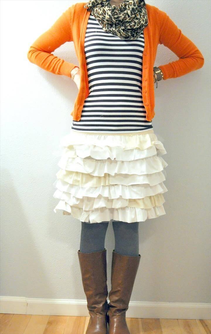 A Ruffle Skirt from an Old T shirt
