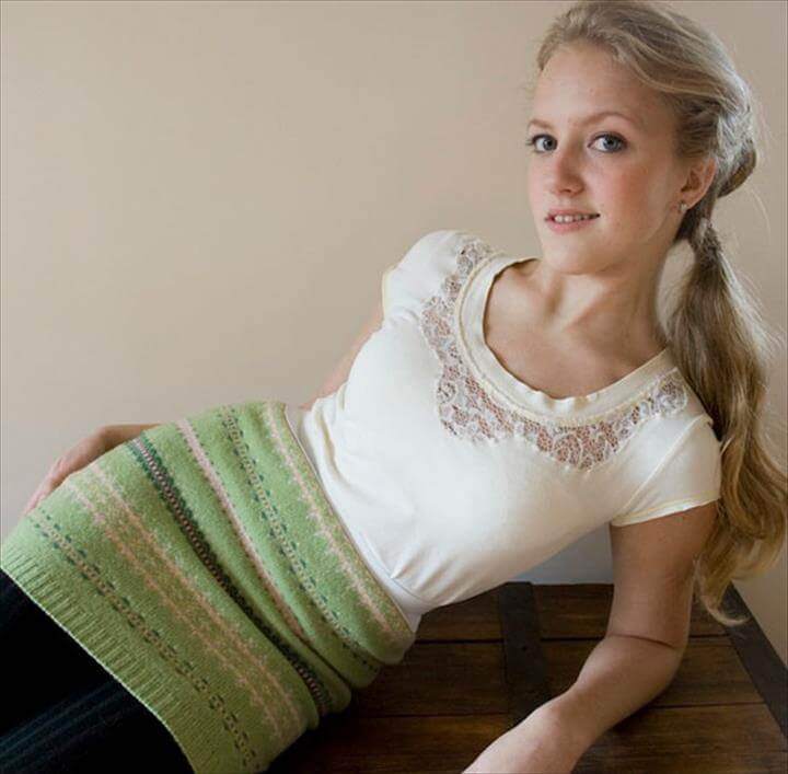 DIY Upcycled Clothing Ideas - Add Lace to an Old Tshirt - DIY Repurposed Clothes
