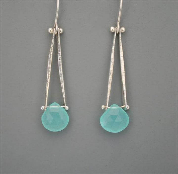 Sterling silver and aqua chalcedony drop earrings, Rachel Wilder Handmade Jewelry