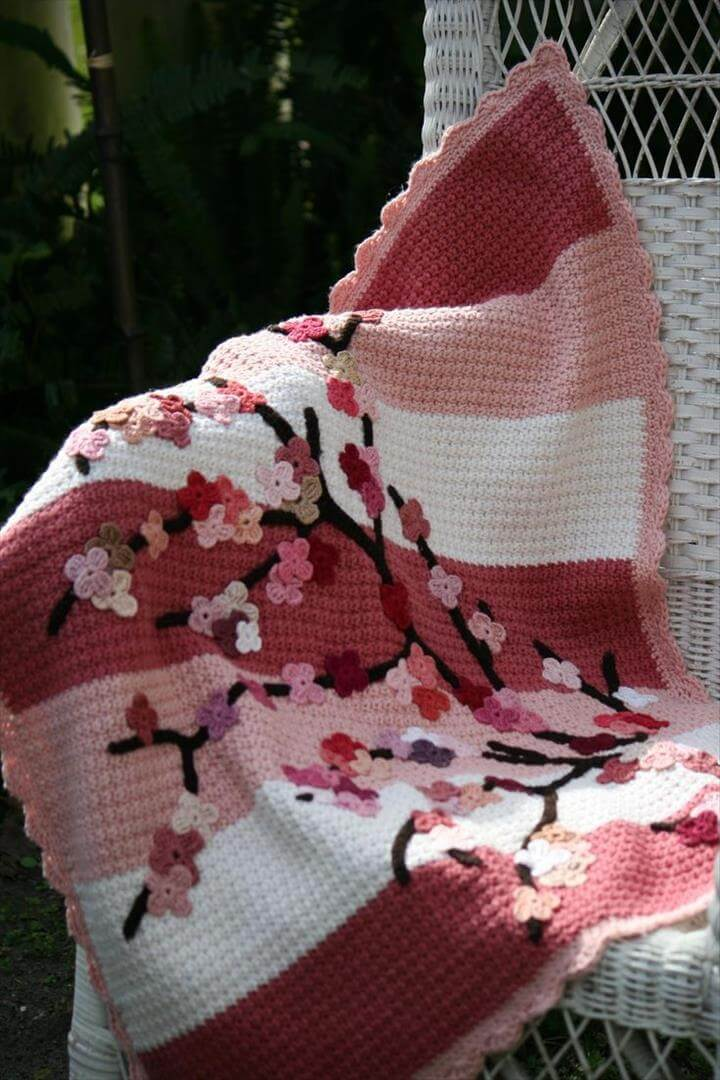 Baby Boy Crochet Blanket | Crochet Cherry Blossom Baby Blanket Tutorial