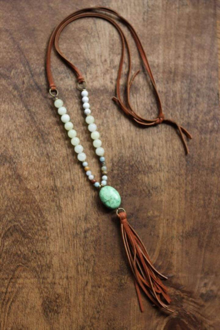 Boho beaded necklace with camel tassel and green
