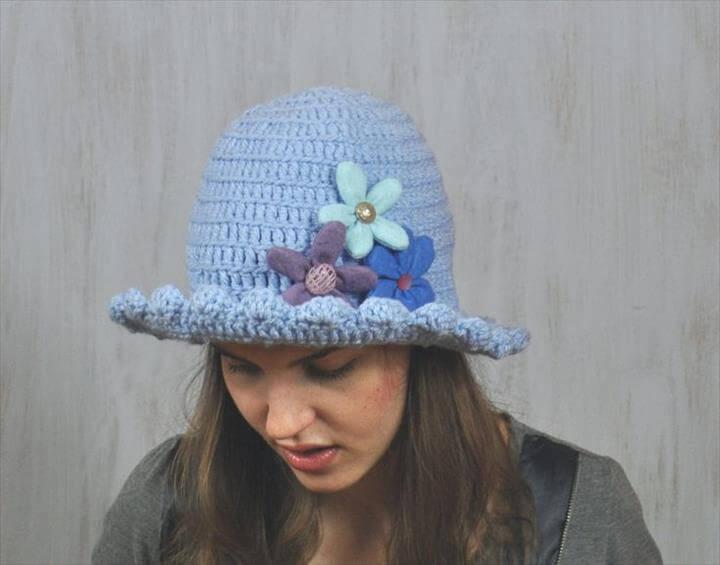 Blue Hat with Felt Flowers, Girl's Brimmed Hat, Handmade, Yarn Crochet, Floppy Hat, Flatter Hat, Spring Hat, Impressive unique, Acrylic