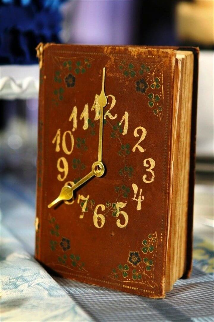 Turn an old book into a vintage style clock. It's a great gift idea for