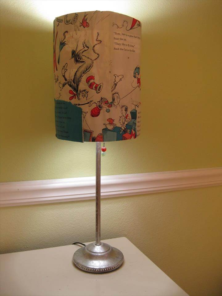 DIY book page lamp shade tutorial