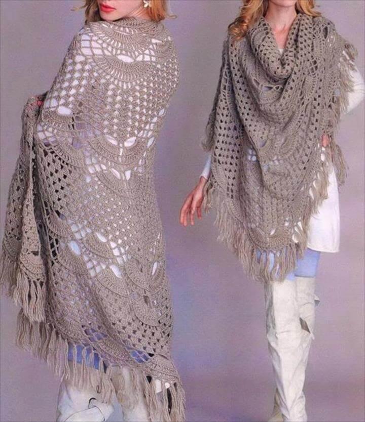 Chic Women Crochet Oversize Shawl: