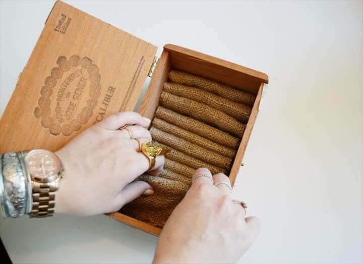 DIY cigar box and burlap jewelry organizer