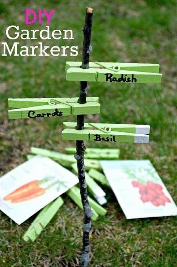 Easy DIY Clothespins Garden Markers