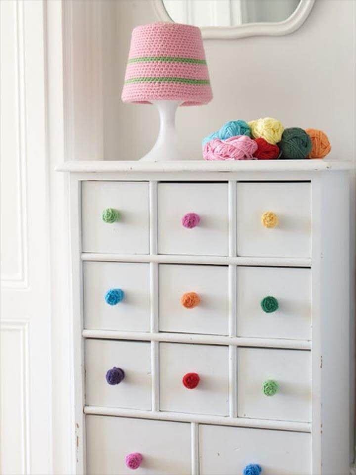colorful crochet drawer knobs