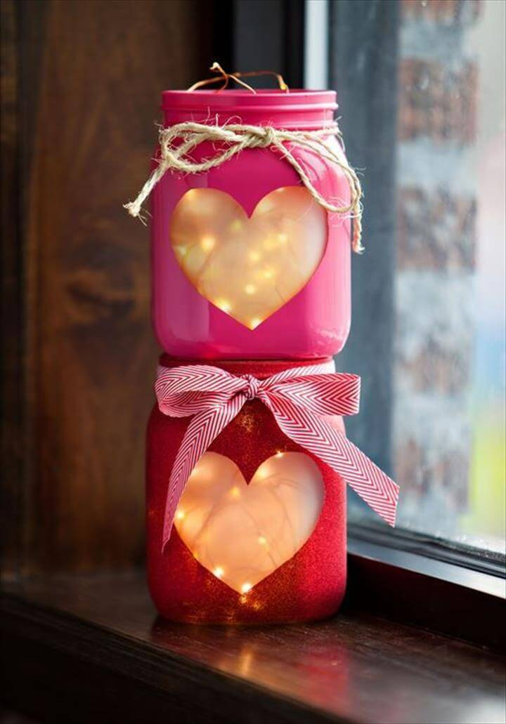 Valentine's Day DIY Project - Copper Wire Lights inside heart shaped mason ...