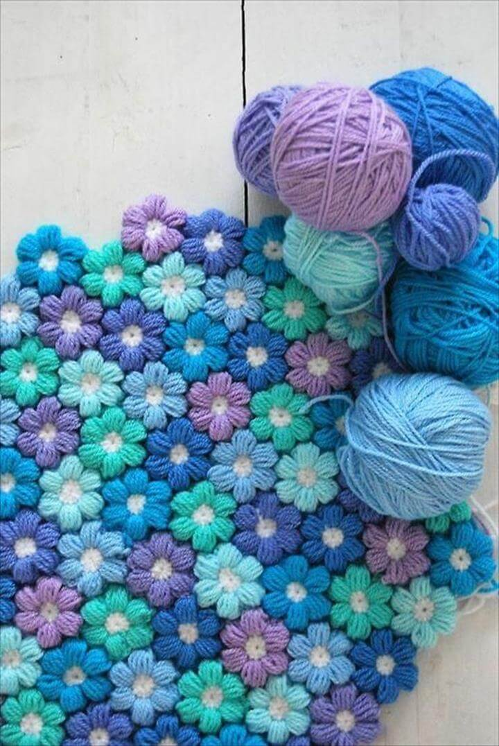 Crochet Puff Flower Blanket