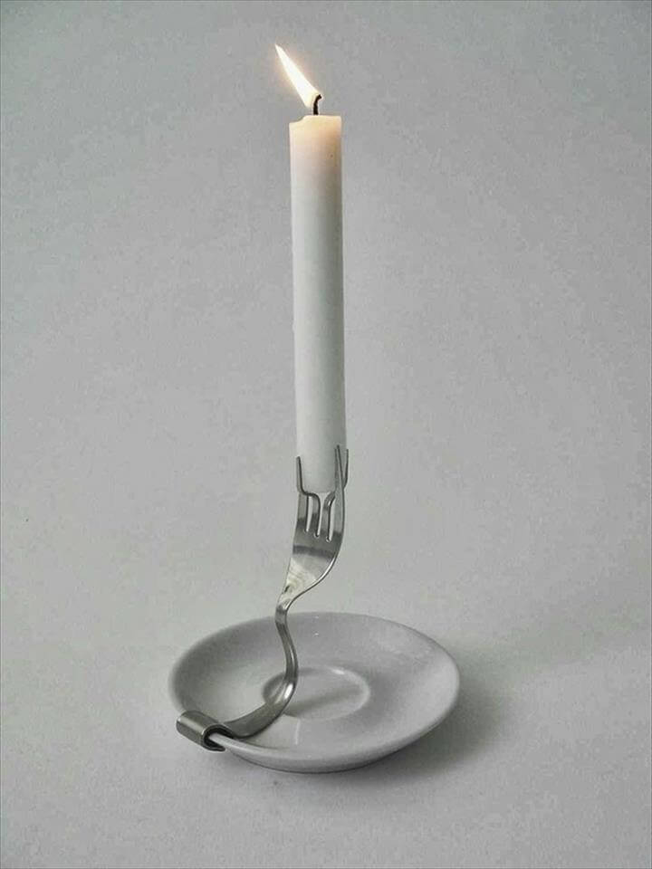 creative upcycling ideas cutlery ideas candleholder