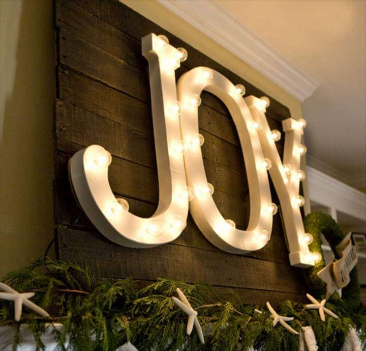 DIY TUTORIAL HOW TO MAKE THE WORD JOY WITH LIGHTS. This is part of a