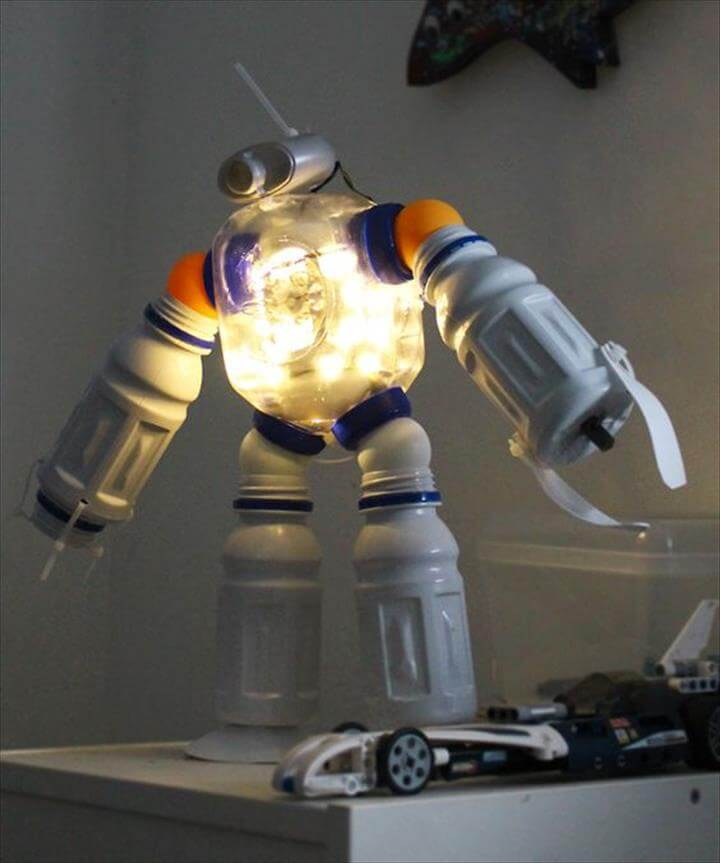 DIY Plastic Bottle Robot Night Light : Making Green Choices Fun For Kids!