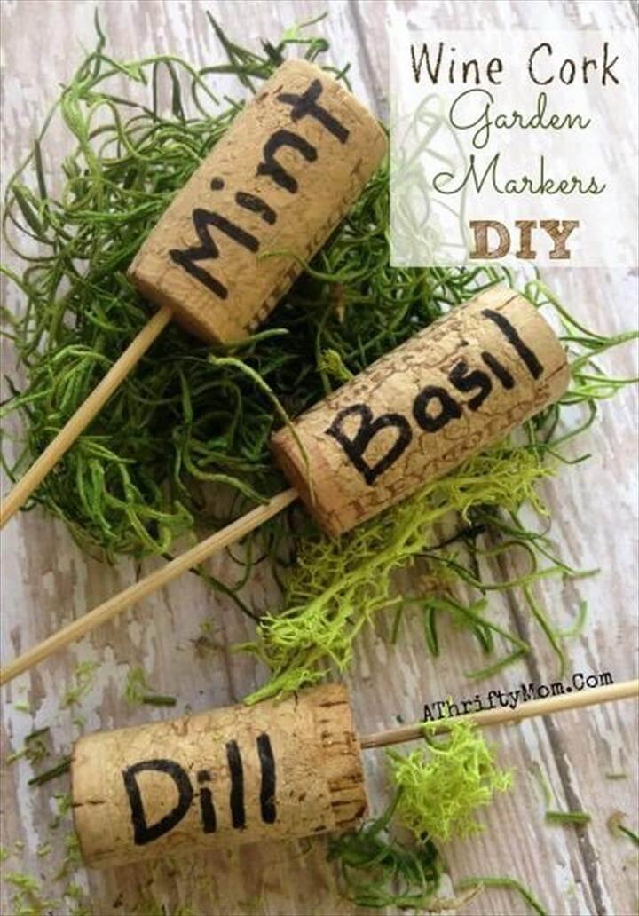 DIY Wine Cork Garden Markers