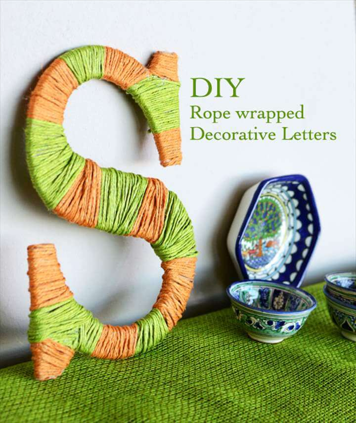 Decorative Wood Letters, Tutorial, Jute Rope, Wrapped Letters, DIY Craft, Burlap