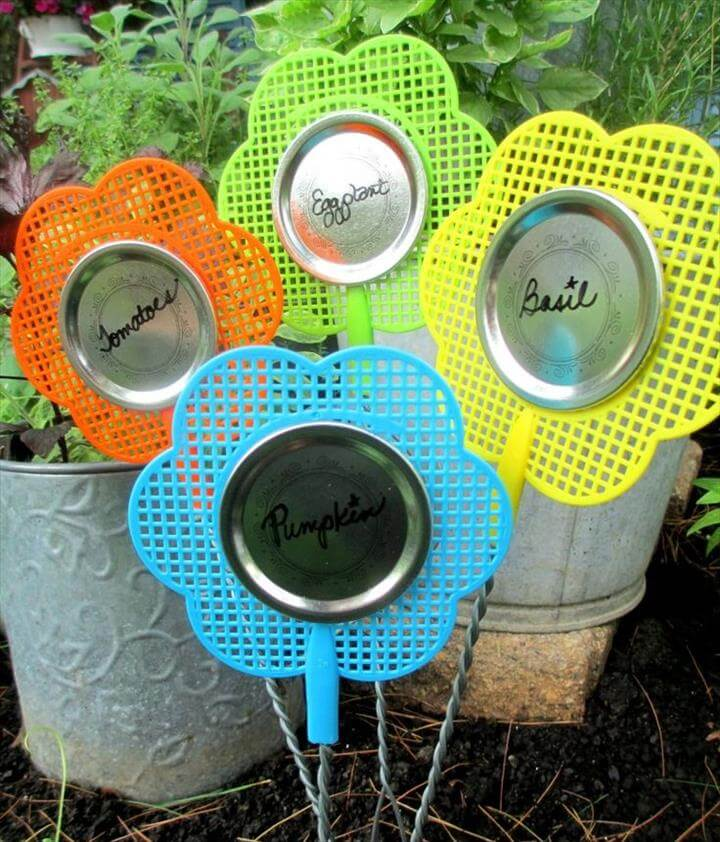 Dollar Store Fly Swatter Plant Labels