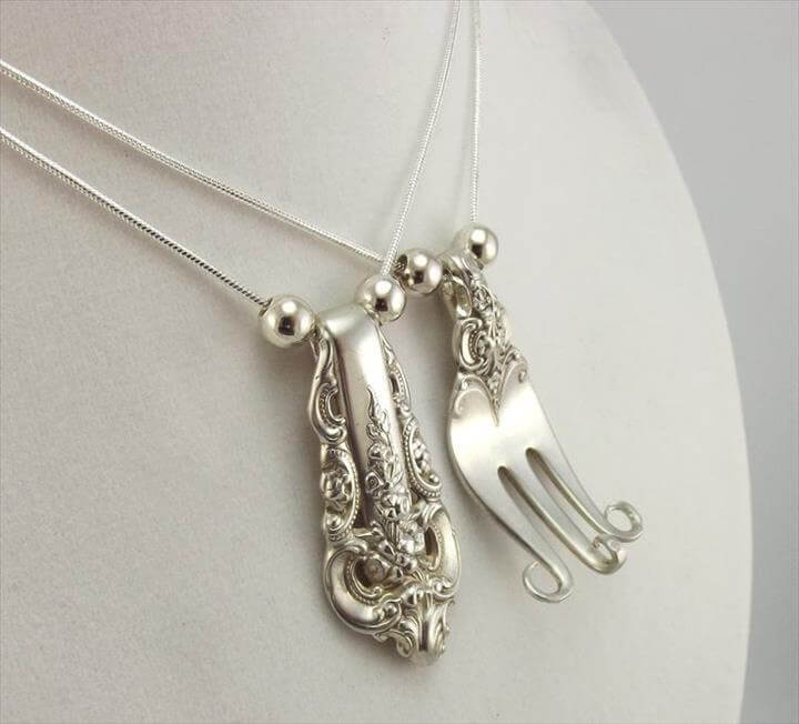 Equals 2 Forkin Necklaces - Silverware Jewelry - Silverware Necklace