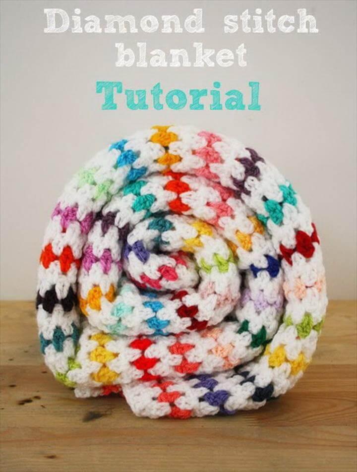 Diamond Stitch Crochet Blanket