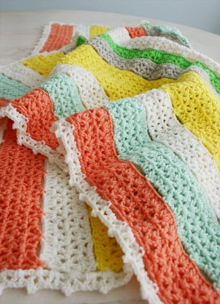 Citrus Stripe Crochet Blanket