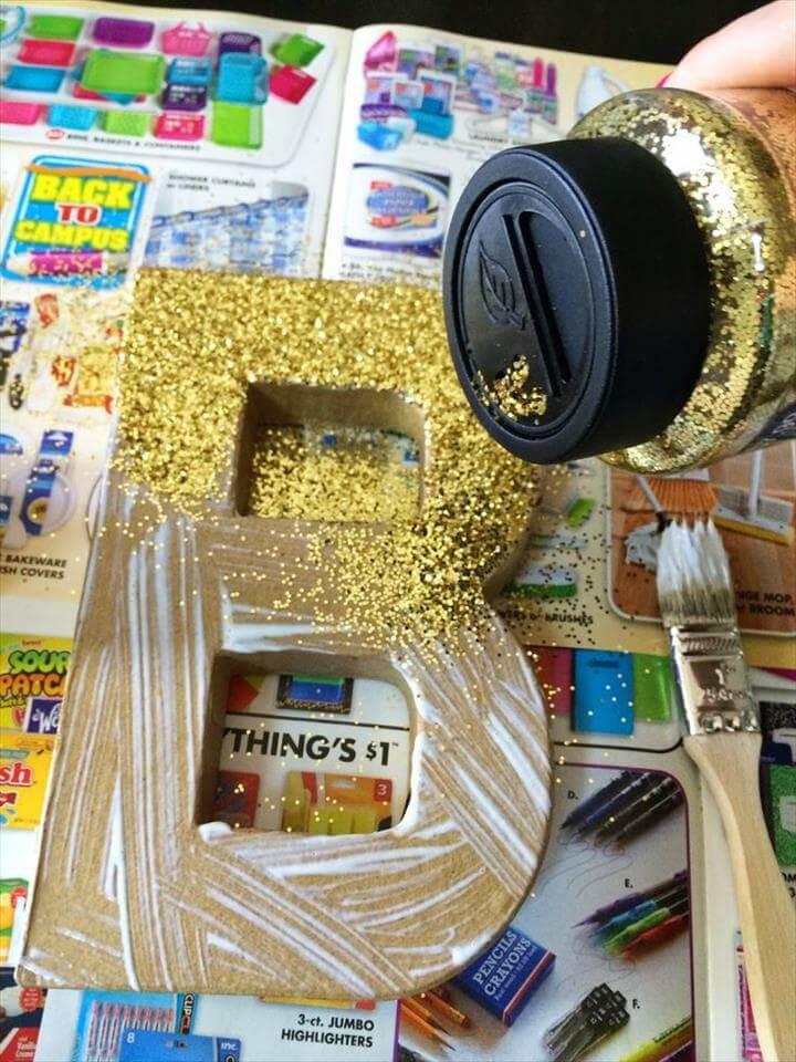 Gold Glitter Paper Mache Letter Tutorial