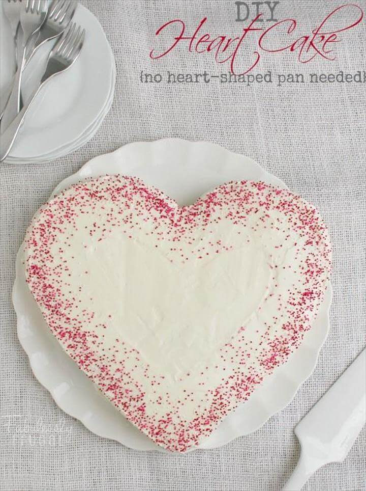 DIY Heart Cake no heart-shaped pan needed Valentine's Day Recipe