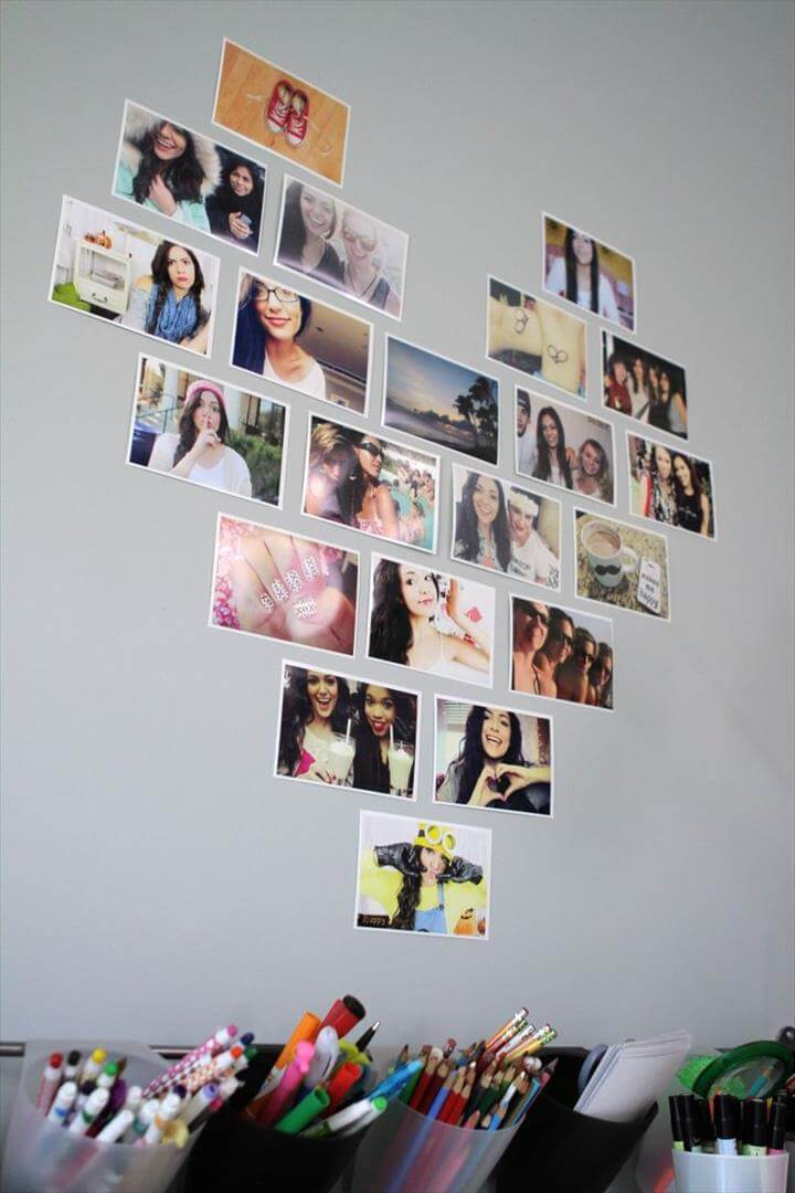 Decorate your room with photos in a heart layout