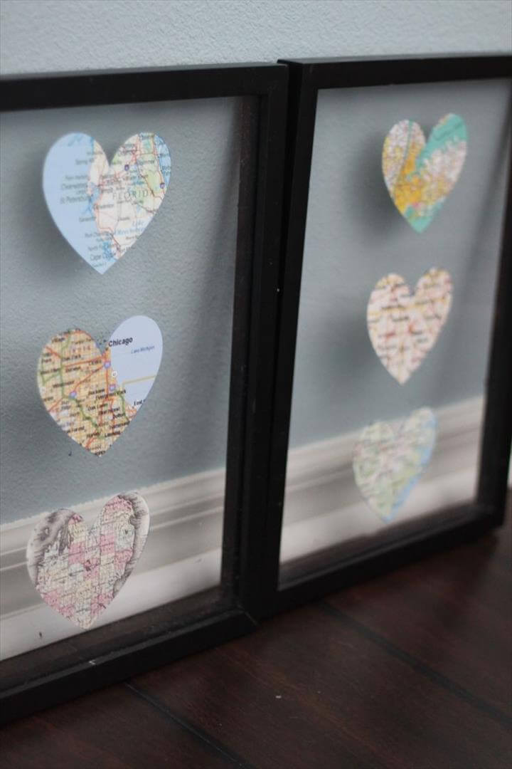 DIY Heart Map Decor. Cut out the cities you love in a heart shape and