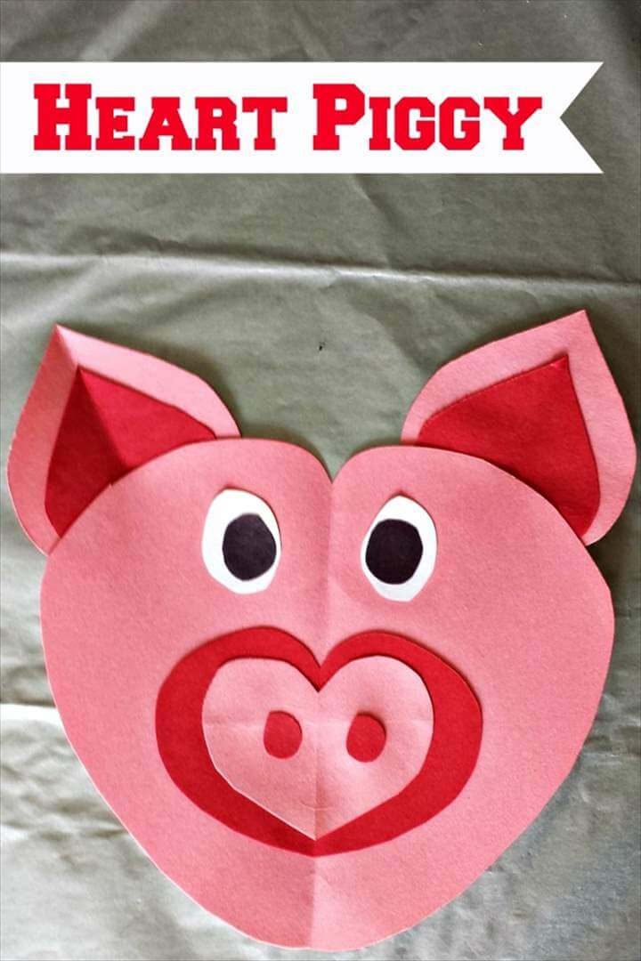 heart pig craft for kids
