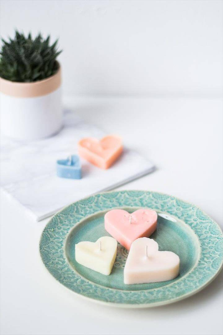 DIY Heart-Shaped Tea Light Candles