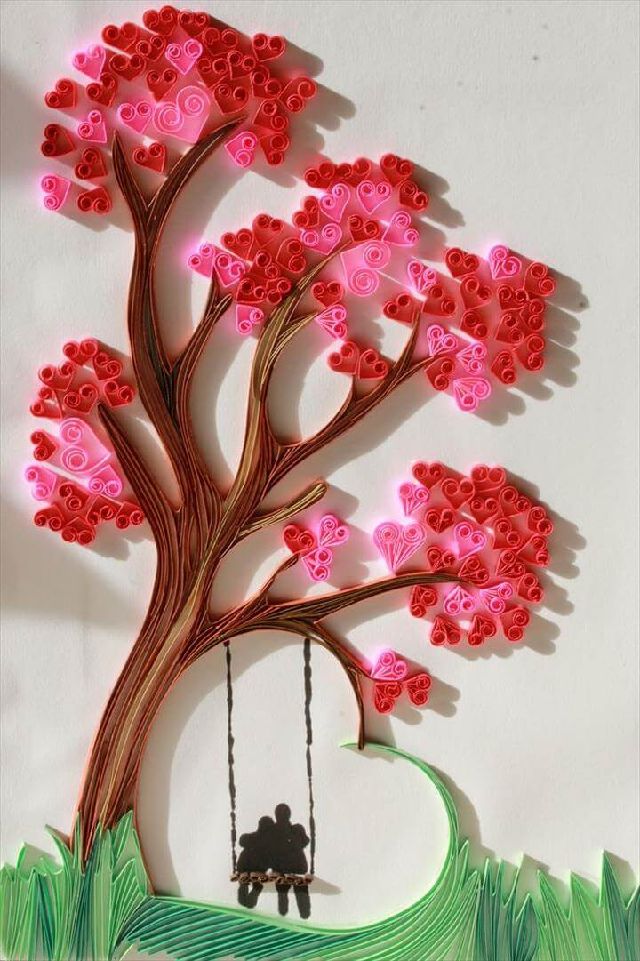 Valentine Heart Paper Quilling Tree
