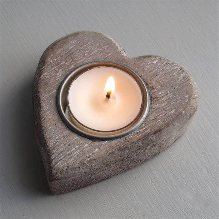 Heart Wooden Candle Holder