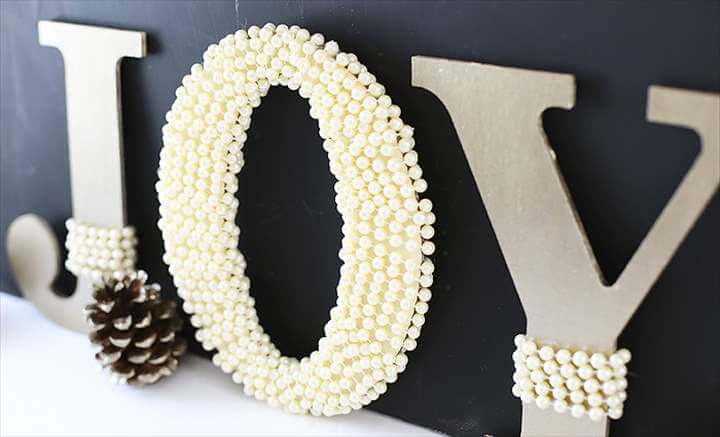 DIY Pearl Embellished JOY Letters tutorial