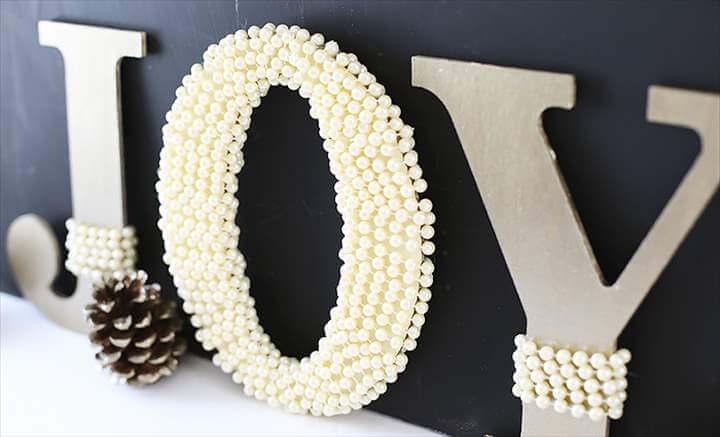 DIY Pearl Embellished JOY Letters tutorial