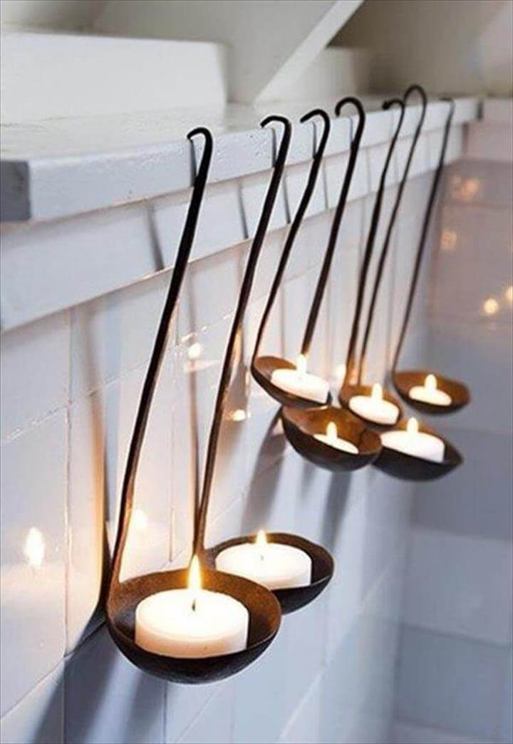 handmade ladle candle holder