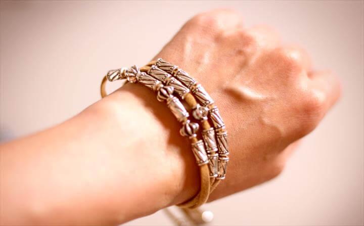 leather stap bracelet, silver beads,